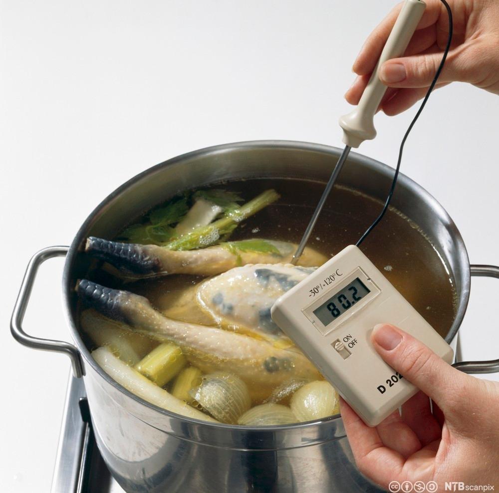 En gryte med kjøtt blir kontroollert med et termometer. Foto.