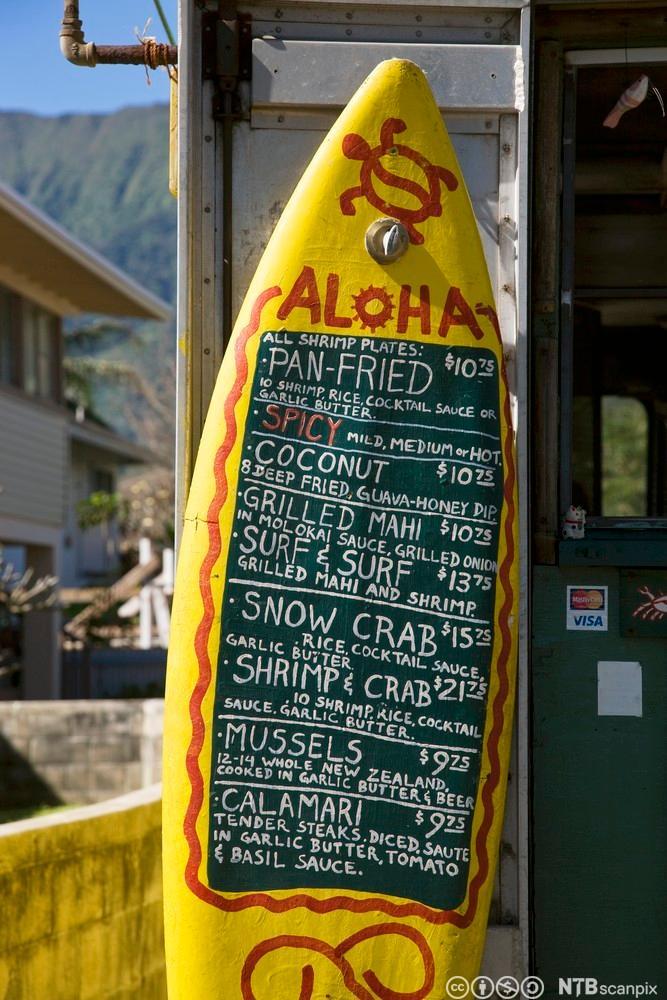 Bilde av et surfebrett med en meny skrevet på. Foto.