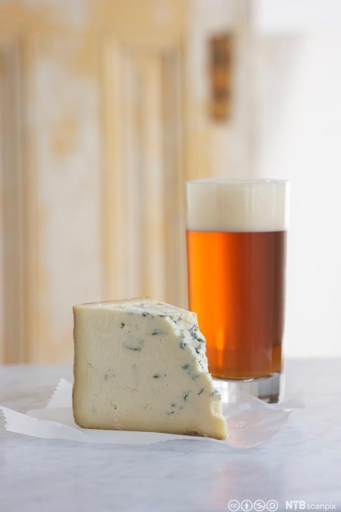 Bilete av eit stykke stiltonost og eit glas øl. Foto.