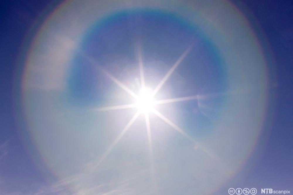 Sol skinner på blå himmel