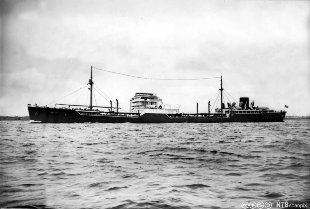 Det tyske skipet Altmark som i februar 1940 søkte dekning i Jøssingfjorden. Foto.