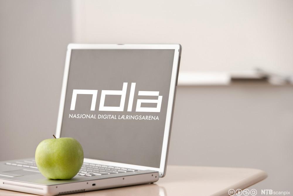 Laptop og eple. Foto.