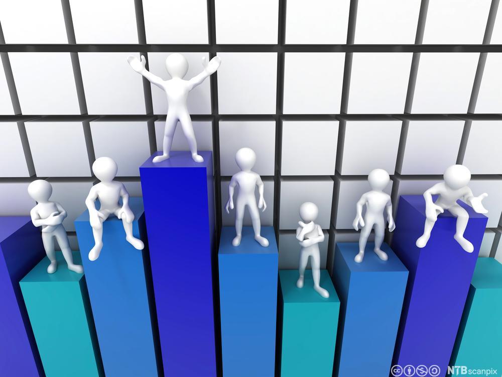 Personer på toppen av hver sin søyle i et søylediagram. Illustrasjon