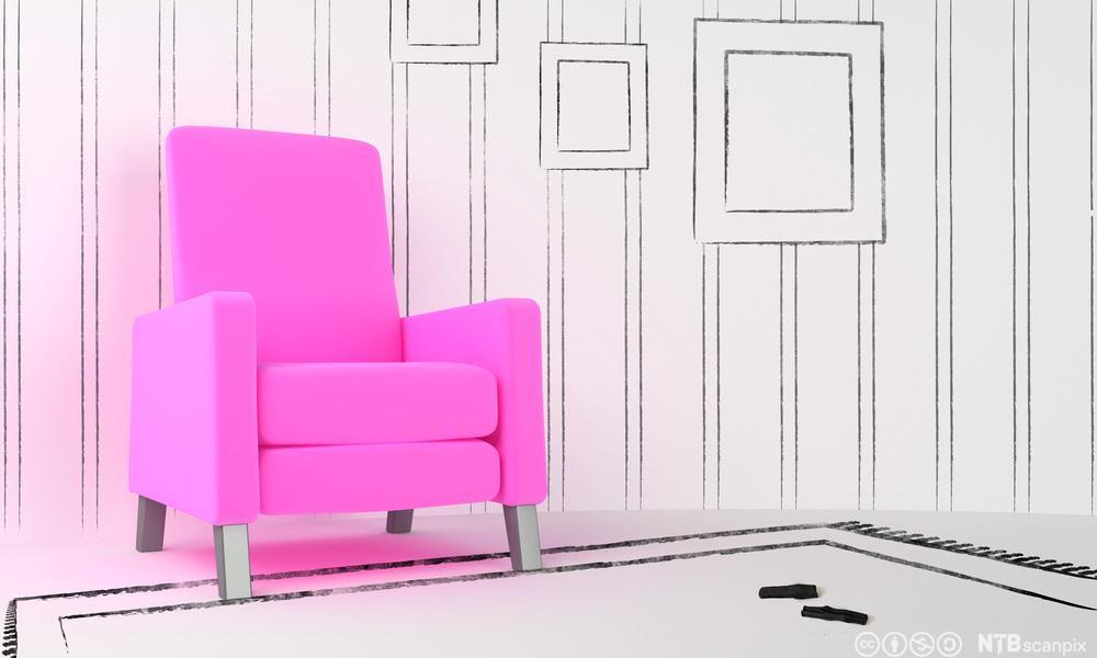 Rosa stol plassert inn i et tegnet rom. Foto