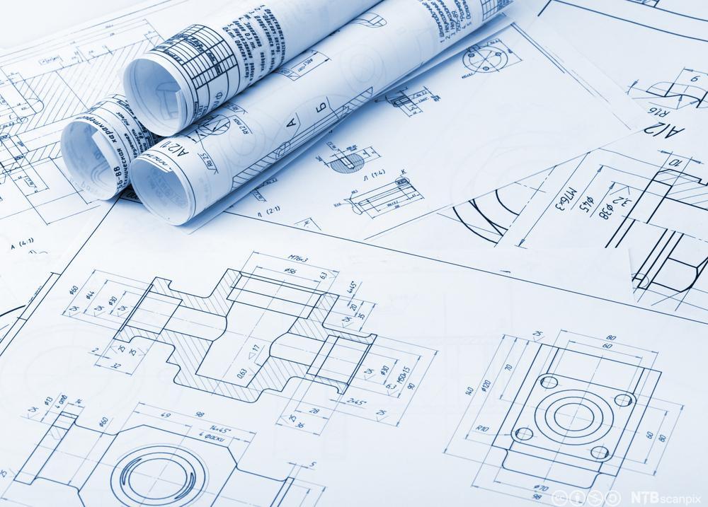 Arbeidstegninger av industrielle detaljer. Foto.