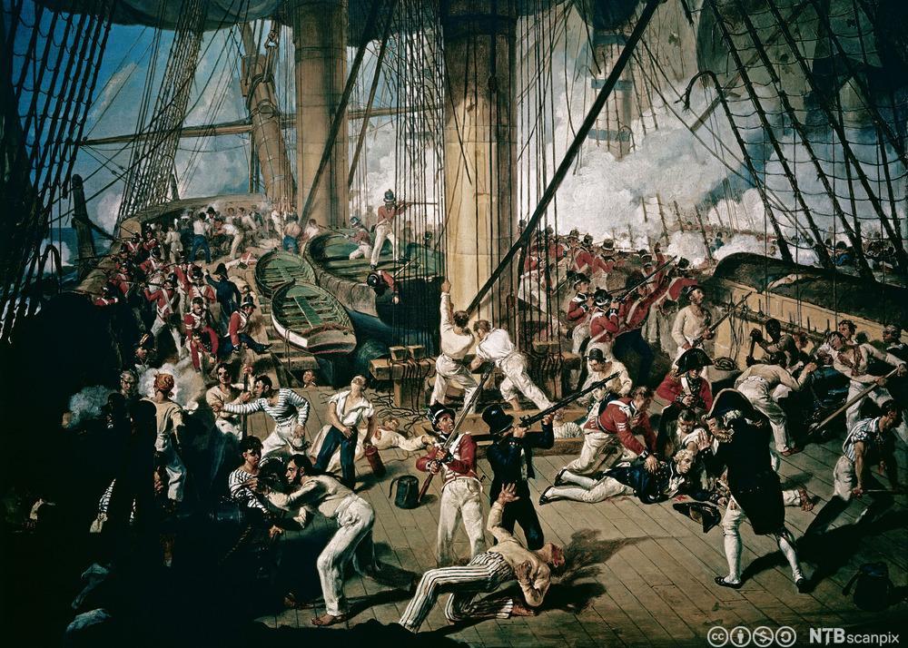 Krigscene ombord på engelsk fregatt. Fargeillustrasjon.