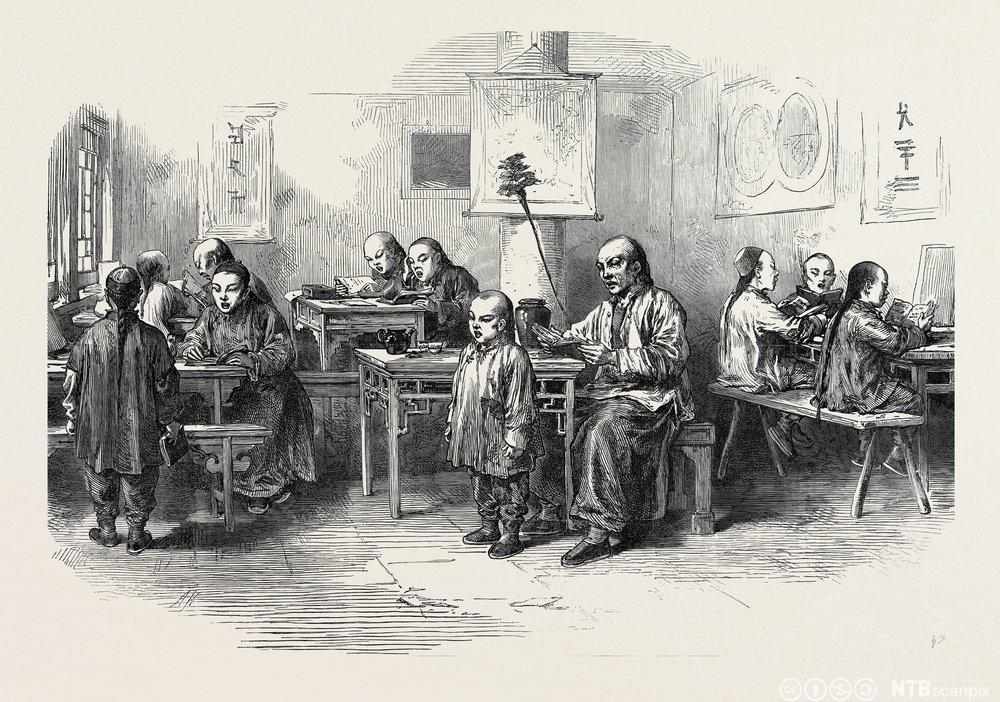 Gutteskole i Peking 1873. Illustrasjon.