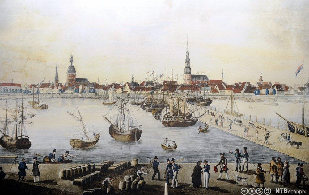 Havnen i Riga på 1700-tallet. Trykk.