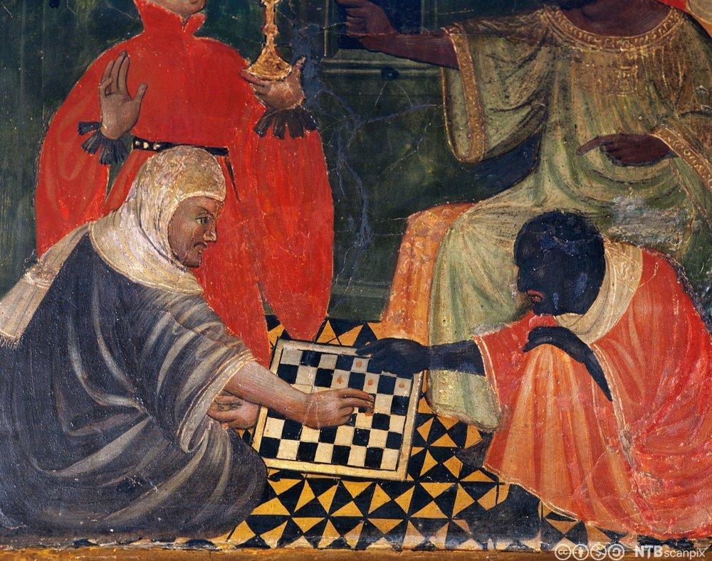 Et bilde av et sjakkparti mellom en kristen og maurer. Maleri.