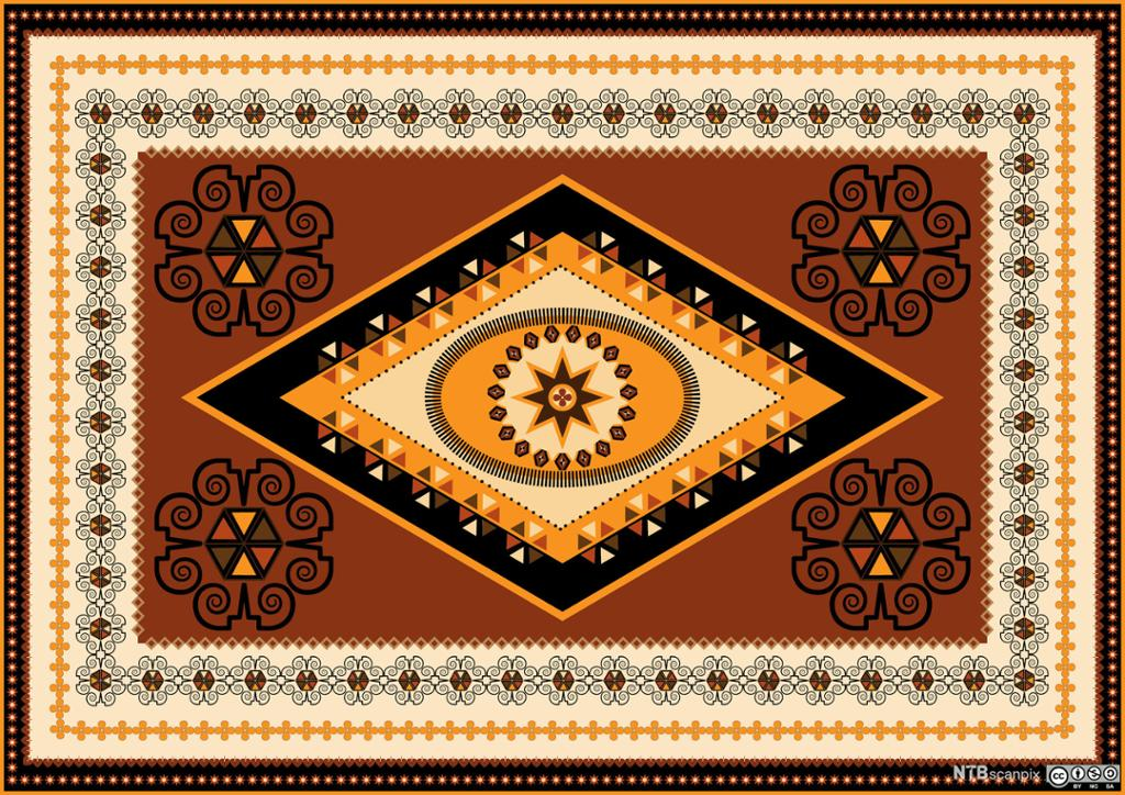 Orientalsk teppe. Foto.