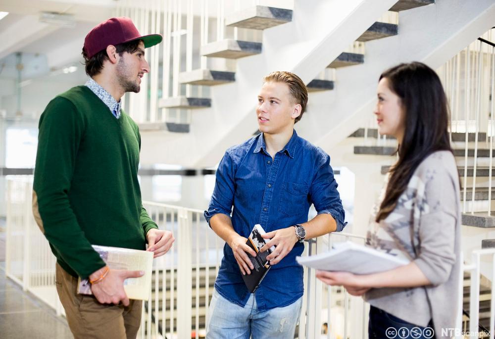 Tre studenter står og snakker med hverandre i en trapp. Foto.