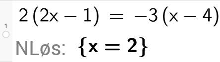 Løse likning i GeoGebra. Bilde.