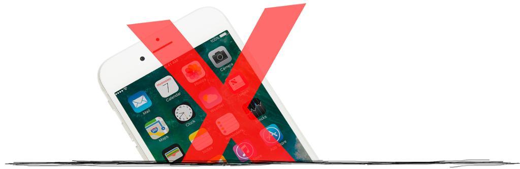 Rødt kryss over en mobil. Bildeutstnitt