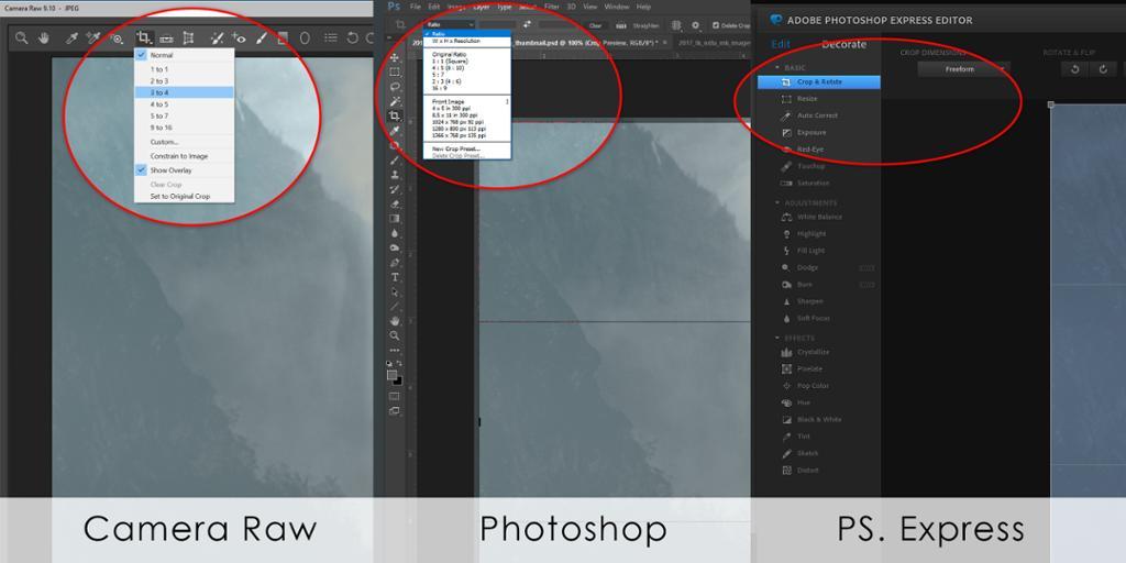 Skjermdump av forskjellige programmer for etterbehandling av bilder. Foto.