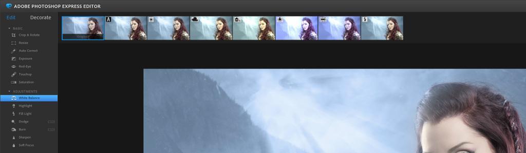 Skjermdump av hvitbalanseringsverktøyet i Photoshop Express Editor.