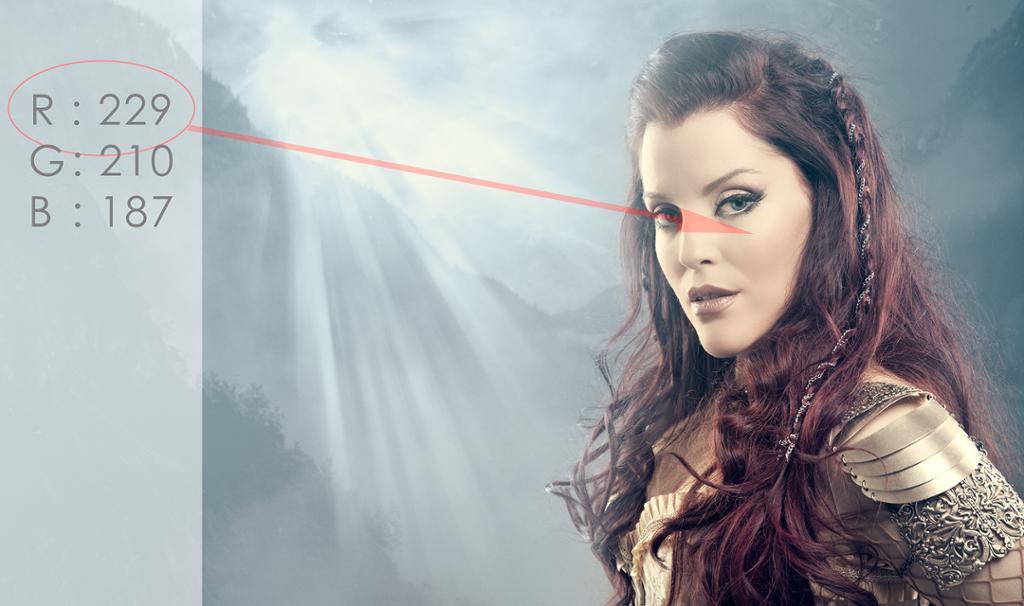 Portrett hvor RGB-verdiene i modellens ansikt vises. Foto.