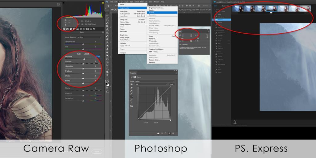 Skjermdump av forskjellige bildebehandlingsprogrammer hvor verktøy for lysjustering vises.