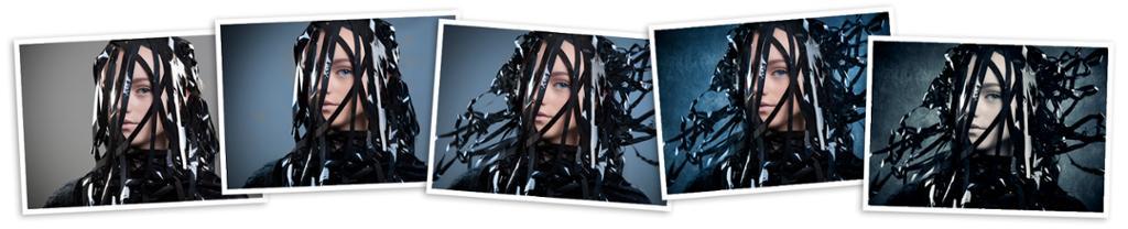 Kollasj med forskjellinge versjoner av samme portrett. Foto.