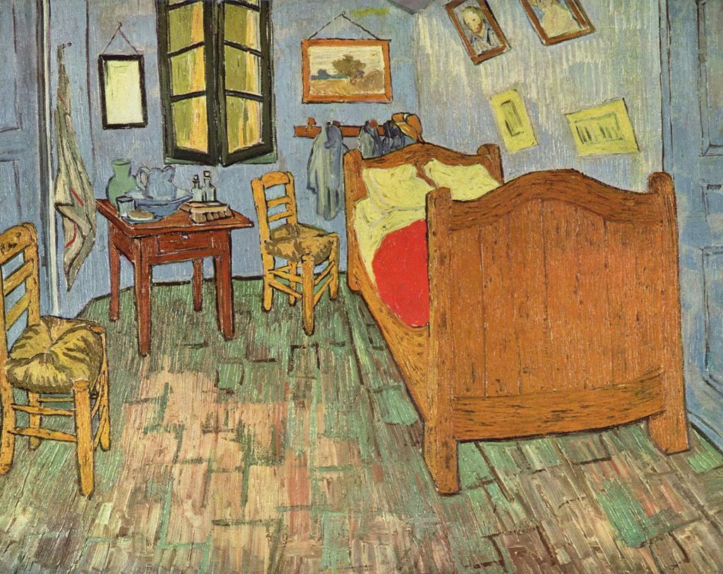 Soverom i Arles av Vincent van Gogh. Maleri.