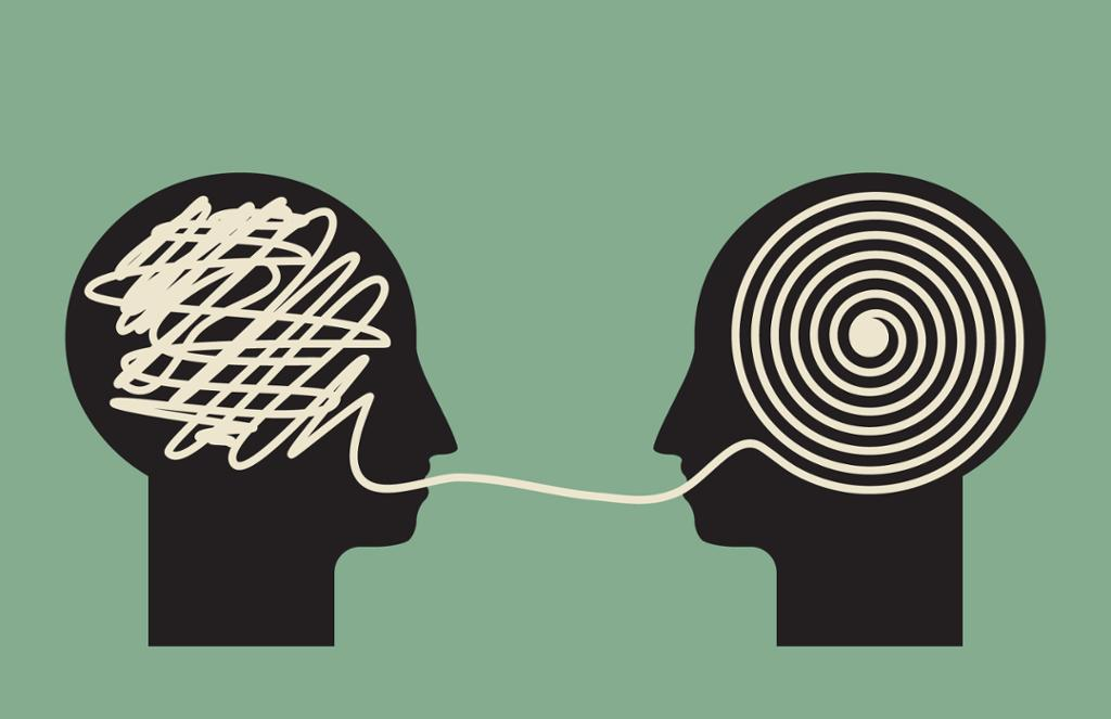Illustrasjon av to hoder som dekoder informasjon.