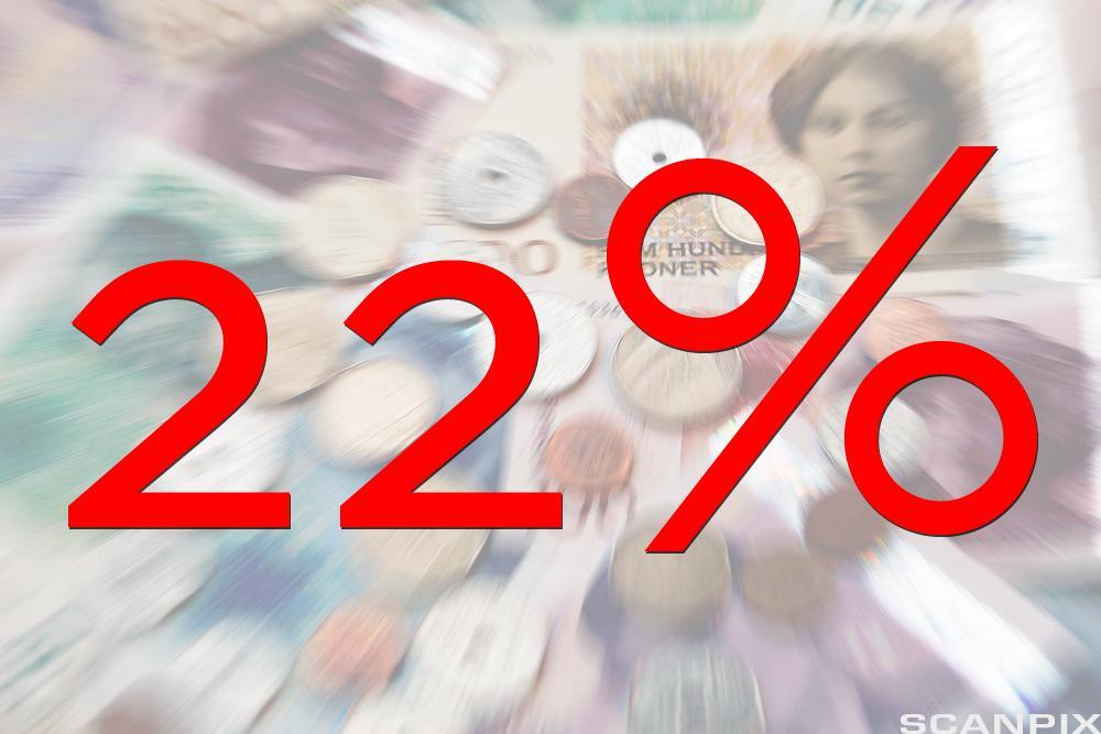 Bilde som illustrerer 22% renteøkning.