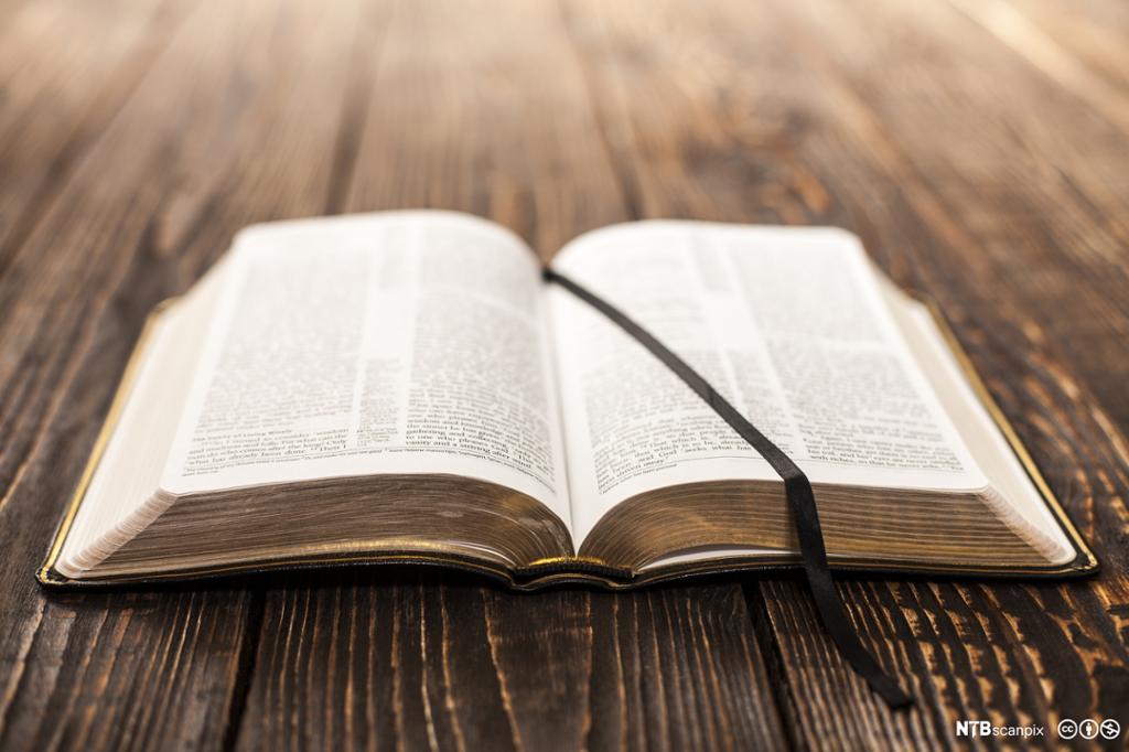 Oppslått bibel. Foto.