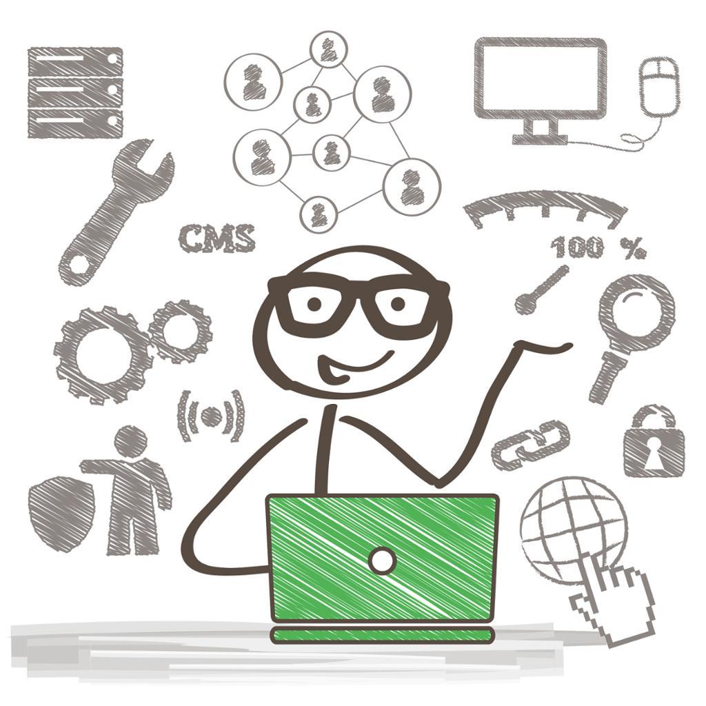 En systemadministrator som reparerer og kobler til Internett. Illustrasjon.