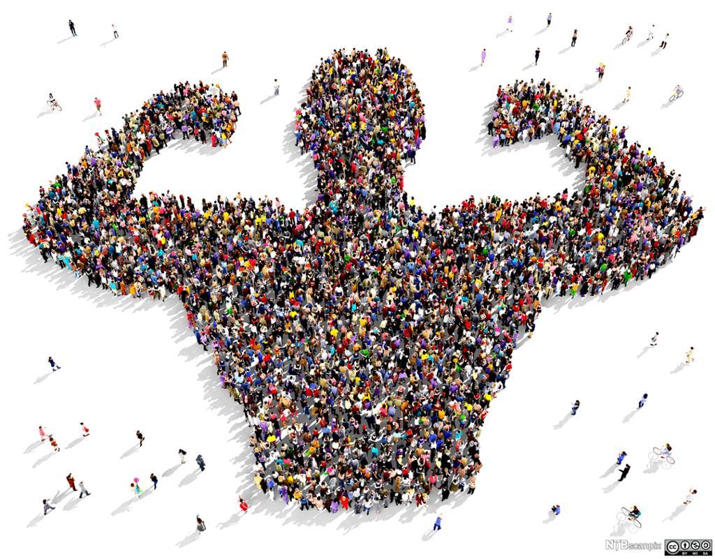 Mange mennesker danner tilsammen siluetten av en mann med kraftige muskler. Foto.