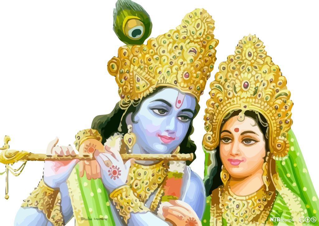 Mann med blå hud og langt sort hår som holder en fløyte og kvinne kledt i grønt med gullkrone. Maleri.