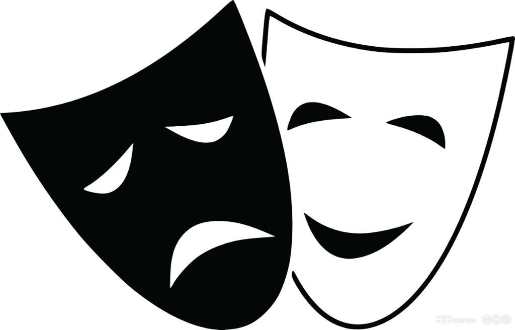 En illustrasjons av en blid og en sur maske.
