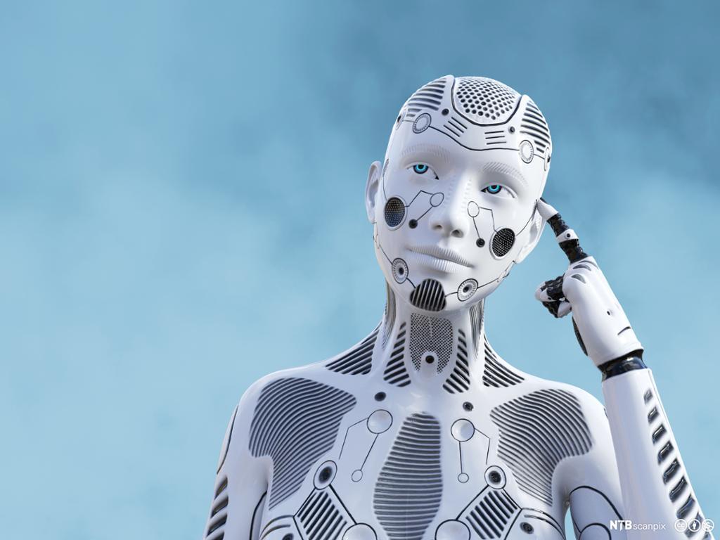 En kvinnelig robot med fingeren mot hodet, ser ut som tenker. Illustrasjon.