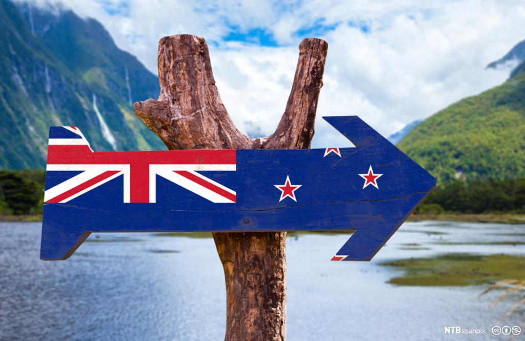 New Zealand Flag wooden sign with mountains in the background.