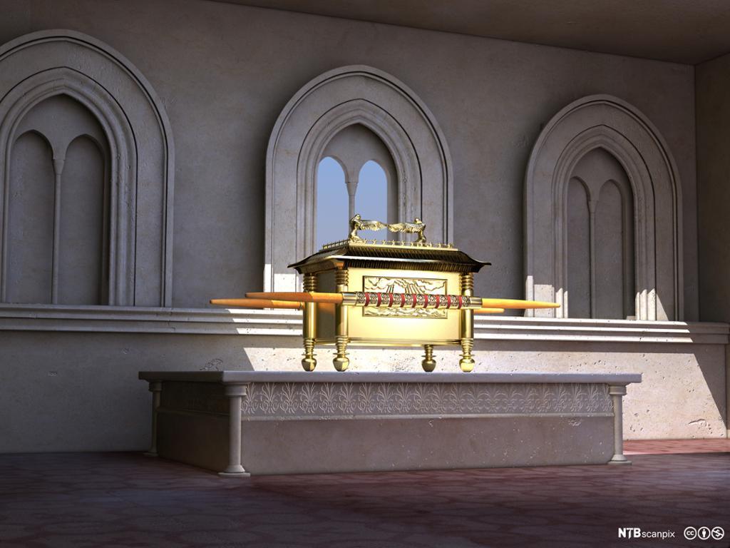 Digital rekonstruksjon av paktkisten. Kiste i gull med to engler på lokket. Digitalt bilde.