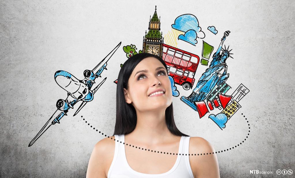 Jente drømmer om å reise til London. Foto.
