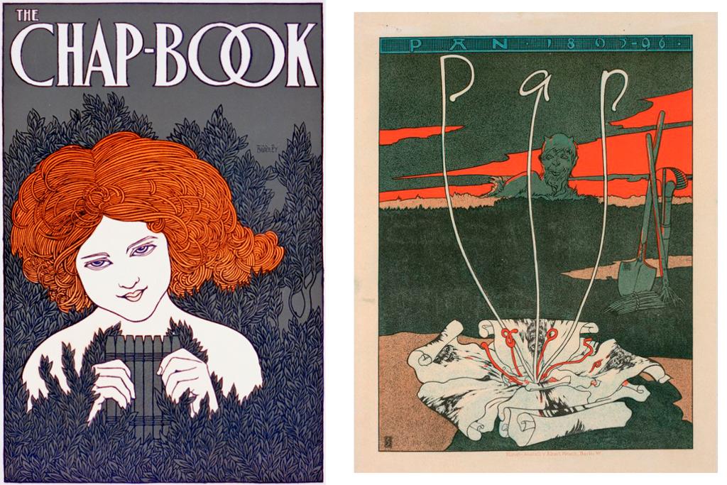 To plakater i jugendstil. Illustrasjoner.