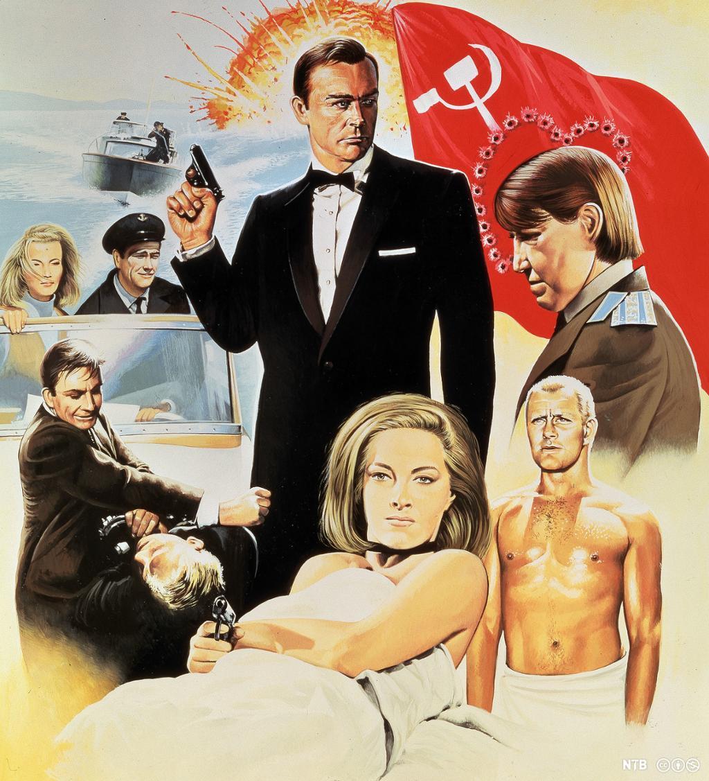 På en tegnet filmplakat står den svartkledde agenten James Bond i midten med en pistol i den ene hånda. Han er omkranset av andre personer fra filmen i ulike situasjoner: en vakker, elegant kvinne med pistol, en mann i russisk uniform, to agenter som slåss, en agent som skyter fra en båt. I bakgrunnen er det en eksplosjon og et sovjetisk flagg med kulehull som former et hjerte. Illustrasjon.