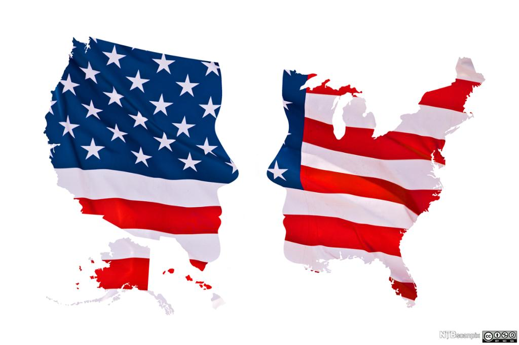 Map of US divided in two