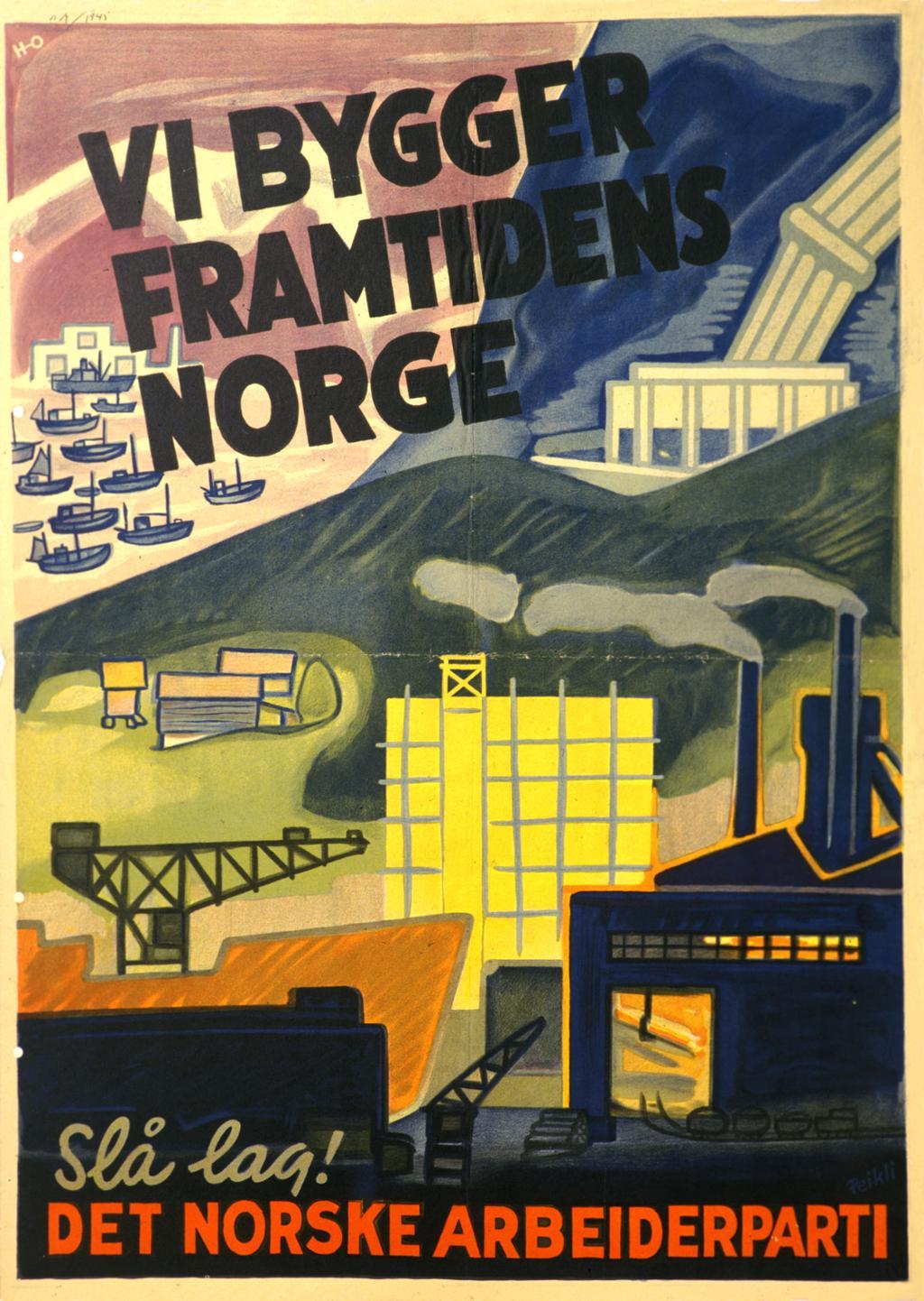 Plakta som viser industi, kraftanlegg, bondegårder og fiskebåter. Illustrasjon.