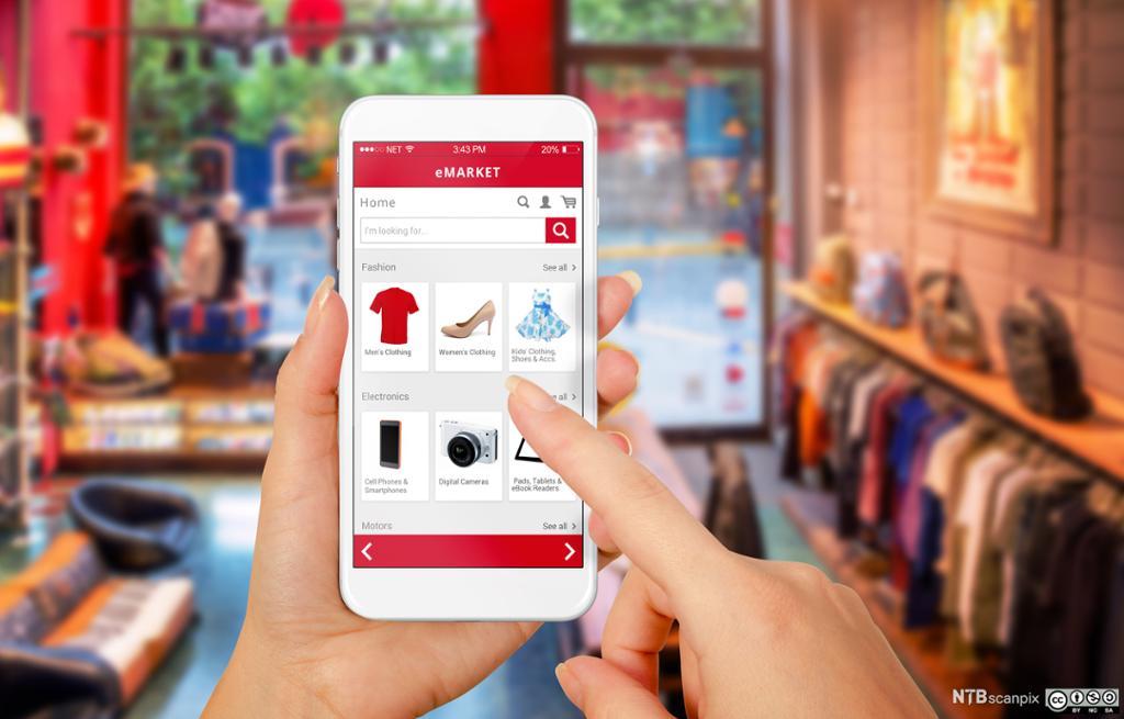 Shopping i nettbutikk på mobiltelefonen. Foto.