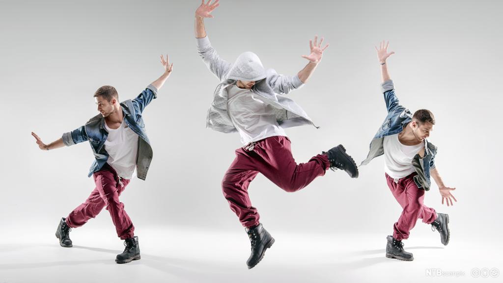 Tre hip-hop dansere. Foto.