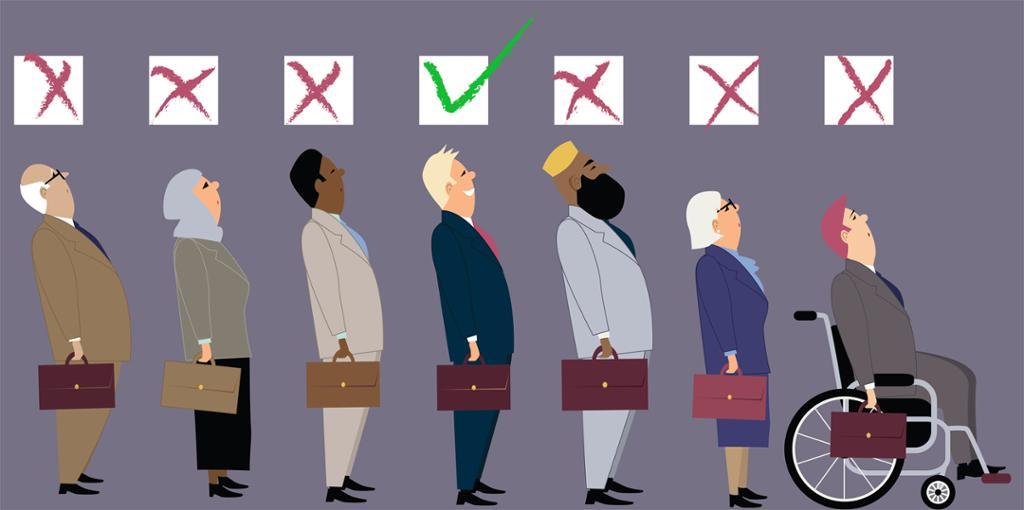 Illustrasjon av forskjellige jobbsøkere der en foretrekkes basert på fordommer.