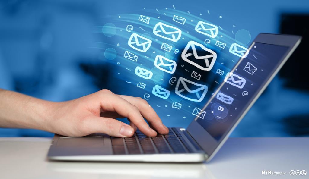hånd som taster på bærbarmaskin og mailer som svever ut i luften fra den. Illustrasjon
