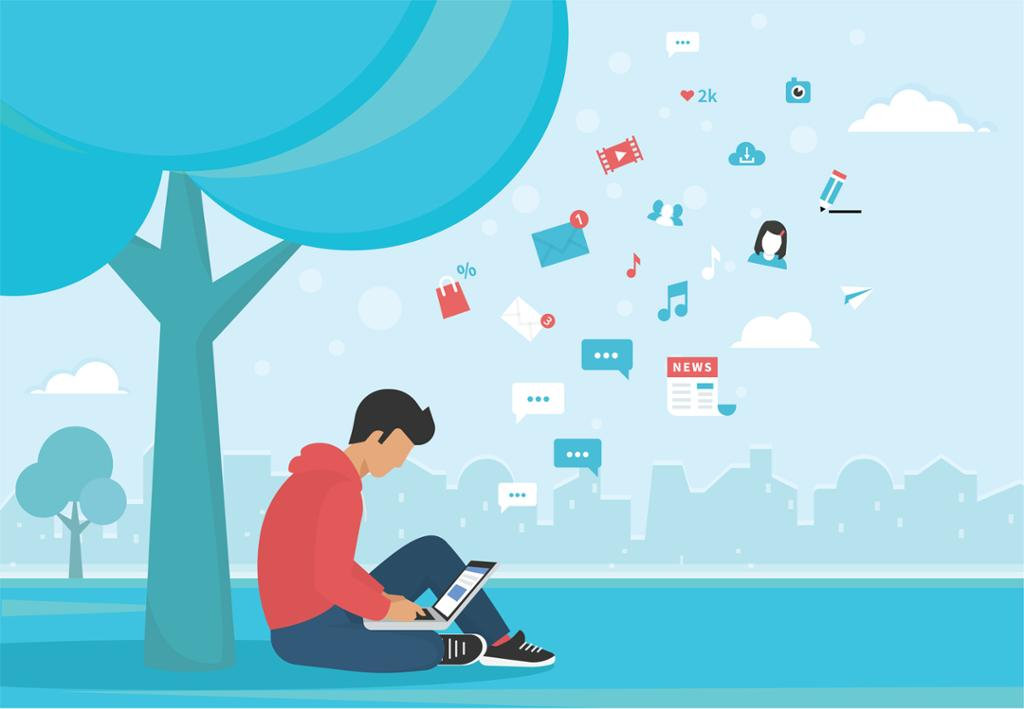 Ungdom sitter under et tre og jobber på en laptop. Tekstsymboler flyr opp i luften. Illustrasjon