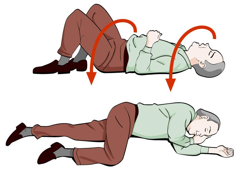 Mann ligg på rygg og legges i stabilt sideleie. Illustrasjon.