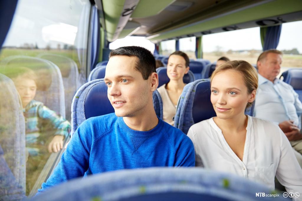 Passasjerer på buss. foto.