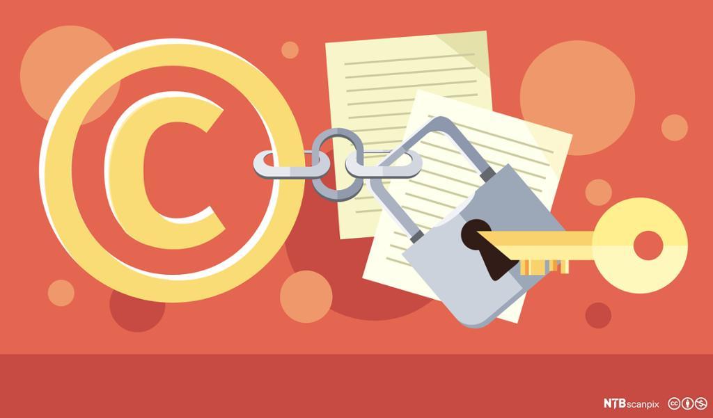 Beskyttelse av copyright. Grafisk.
