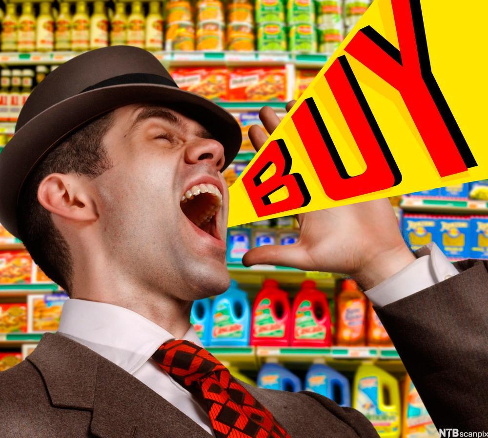 Mann i butikk som roper der det er lagt inn en grafisk illustrasjon som skal vise at ha  roper kjøp.