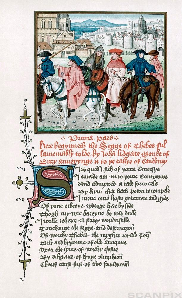 "Canterbury pilgrims. The poem ""The Canterbury Tales"" by Geoffrey Chaucer was written in Middle English,"