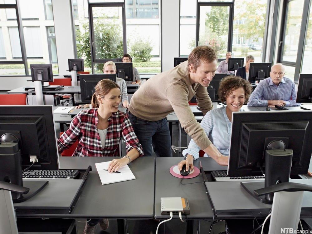 Kursdeltakere som får hjelp fra kursholder. Foto.