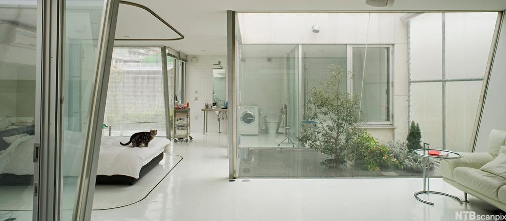 Soverom med hvite møbler. På bildet ser du et side bord designet av Eileen Gray.